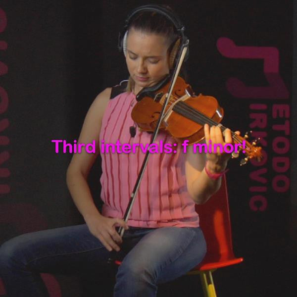 Lesson 102: Third intervals:f minor! - violino online, play violin online,   - tocar violin online, уроки игры на скрипке, Metodo Mirkovic - cours de violon en ligne, geige online lernen