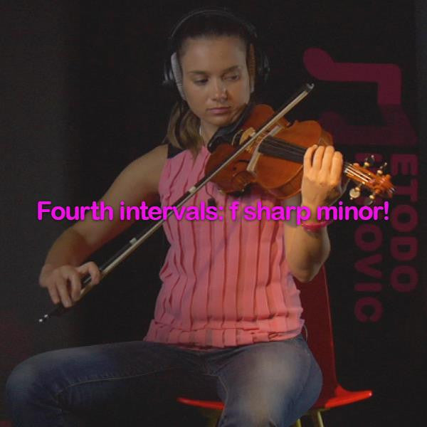 Lesson 114:Fourth intervals:f sharp minor! - violino online, play violin online,   - tocar violin online, уроки игры на скрипке, Metodo Mirkovic - cours de violon en ligne, geige online lernen