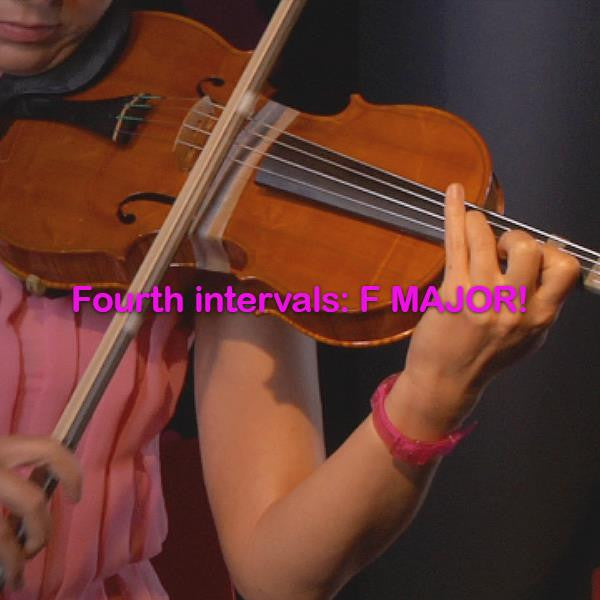 Lesson 115:Fourth intervals:F MAJOR! - violino online, play violin online,   - tocar violin online, уроки игры на скрипке, Metodo Mirkovic - cours de violon en ligne, geige online lernen
