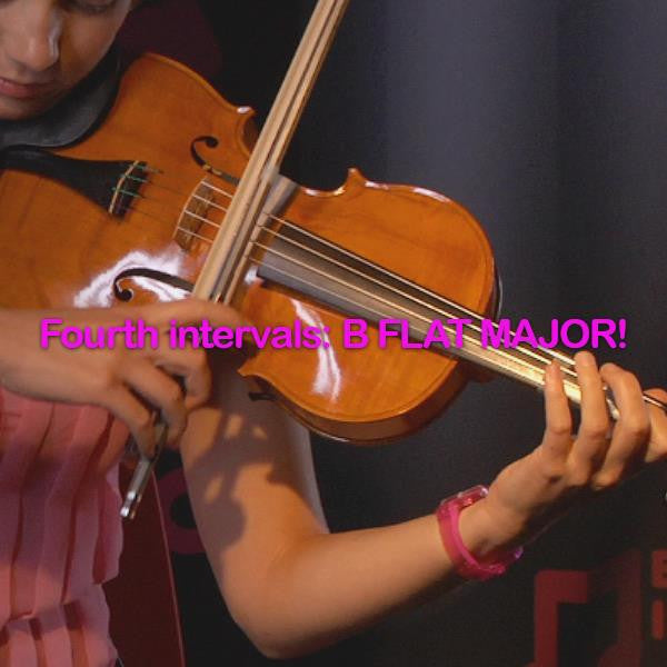 Lesson 117:Fourth intervals:B FLAT MAJOR! - violino online, play violin online,   - tocar violin online, уроки игры на скрипке, Metodo Mirkovic - cours de violon en ligne, geige online lernen
