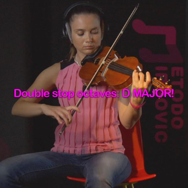 Lesson 156: Double stop octaves:D MAJOR! - violino online, play violin online,   - tocar violin online, уроки игры на скрипке, Metodo Mirkovic - cours de violon en ligne, geige online lernen