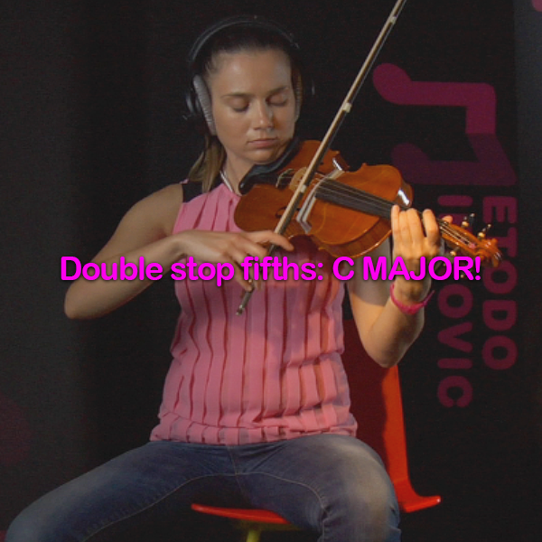 Lesson 166:Double stop fifths: C MAJOR! - violino online, play violin online,   - tocar violin online, уроки игры на скрипке, Metodo Mirkovic - cours de violon en ligne, geige online lernen