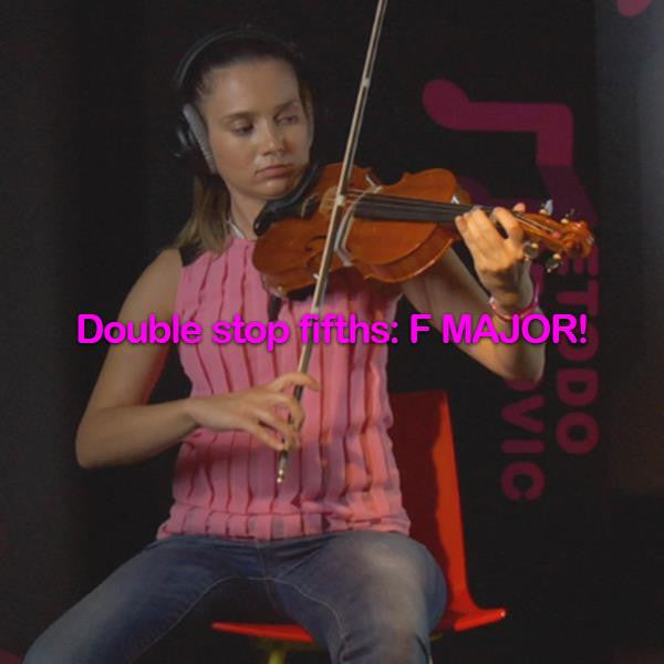 Lesson 168: Double stop fifths: F MAJOR! - violino online, play violin online,   - tocar violin online, уроки игры на скрипке, Metodo Mirkovic - cours de violon en ligne, geige online lernen