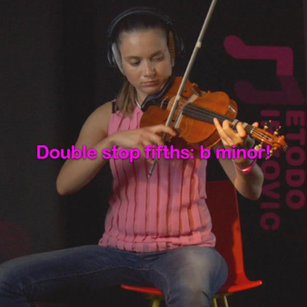 Lesson 173:Double stop fifths: b minor! - violino online, play violin online,   - tocar violin online, уроки игры на скрипке, Metodo Mirkovic - cours de violon en ligne, geige online lernen
