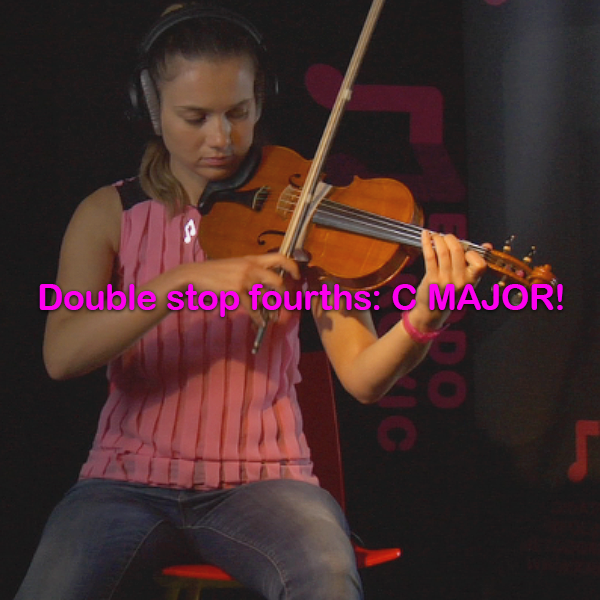 Lesson 174:Double stop fourths: C MAJOR! - violino online, play violin online,   - tocar violin online, уроки игры на скрипке, Metodo Mirkovic - cours de violon en ligne, geige online lernen