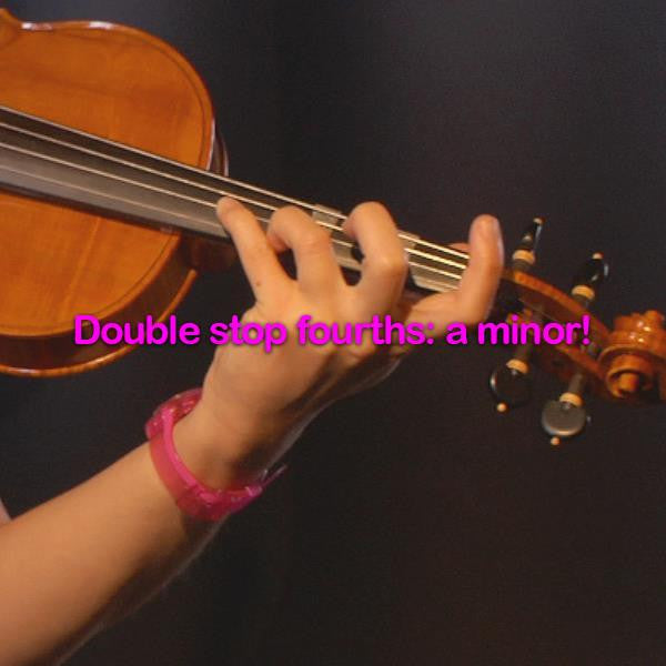 Lesson 175:Double stop fourths: a minor! - violino online, play violin online,   - tocar violin online, уроки игры на скрипке, Metodo Mirkovic - cours de violon en ligne, geige online lernen