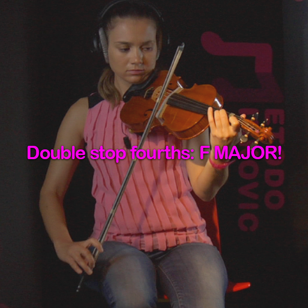 Lesson 176:Double stop fourths: F MAJOR! - violino online, play violin online,   - tocar violin online, уроки игры на скрипке, Metodo Mirkovic - cours de violon en ligne, geige online lernen