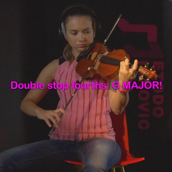 Lesson 178:Double stop fourths: G MAJOR! - violino online, play violin online,   - tocar violin online, уроки игры на скрипке, Metodo Mirkovic - cours de violon en ligne, geige online lernen