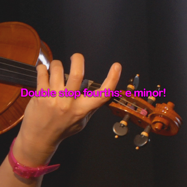 Lesson 179:Double stop fourths: e minor! - violino online, play violin online,   - tocar violin online, уроки игры на скрипке, Metodo Mirkovic - cours de violon en ligne, geige online lernen