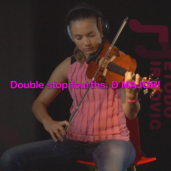Lesson 180:Double stop fourths: D MAJOR! - violino online, play violin online,   - tocar violin online, уроки игры на скрипке, Metodo Mirkovic - cours de violon en ligne, geige online lernen