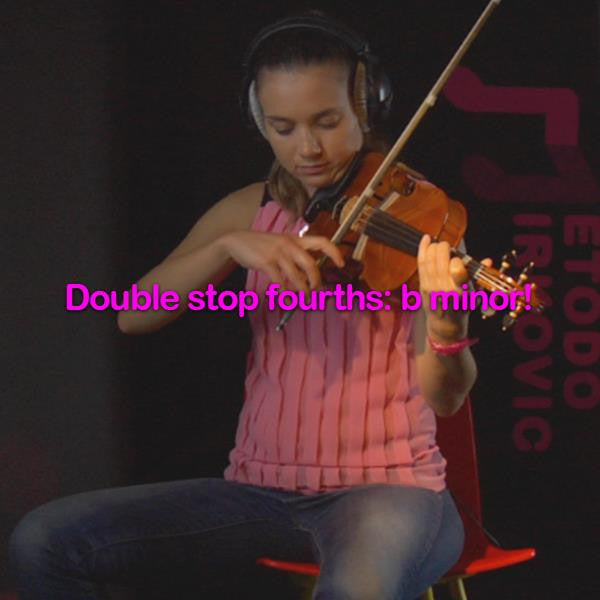 Lesson 181:Double stop fourths: b minor! - violino online, play violin online,   - tocar violin online, уроки игры на скрипке, Metodo Mirkovic - cours de violon en ligne, geige online lernen