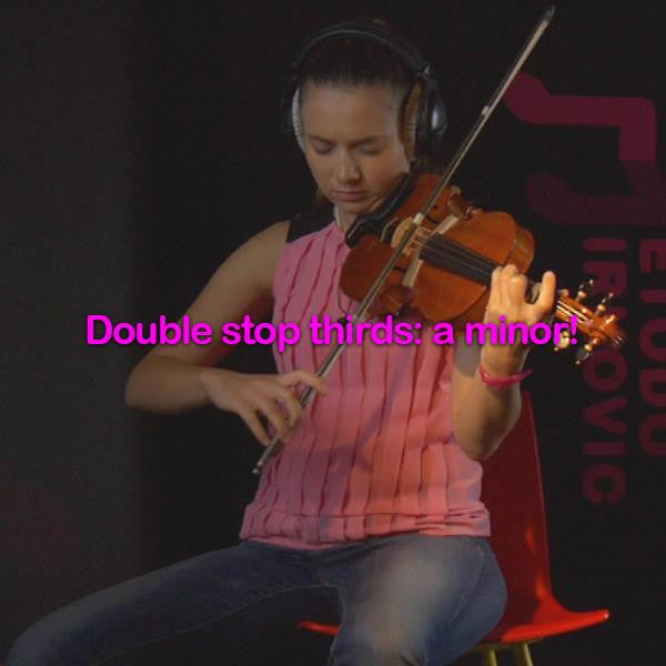 Lesson 183:Double stop thirds: a minor! - violino online, play violin online,   - tocar violin online, уроки игры на скрипке, Metodo Mirkovic - cours de violon en ligne, geige online lernen
