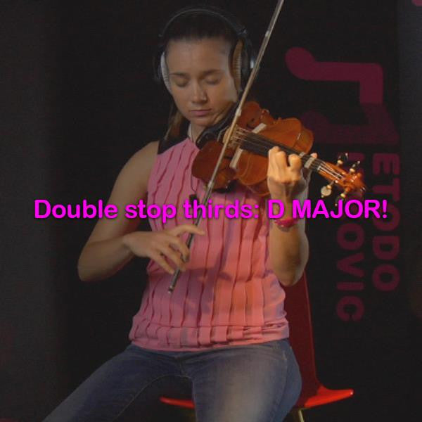 Lesson 188: Double stop thirds: D MAJOR! - violino online, play violin online,   - tocar violin online, уроки игры на скрипке, Metodo Mirkovic - cours de violon en ligne, geige online lernen