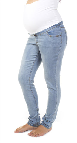 Light Wash Skinny Maternity Jeans | Bedondine