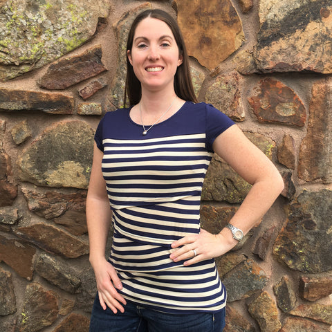 Striped Solid Yoke Nursing Top | Milk Nursingwear