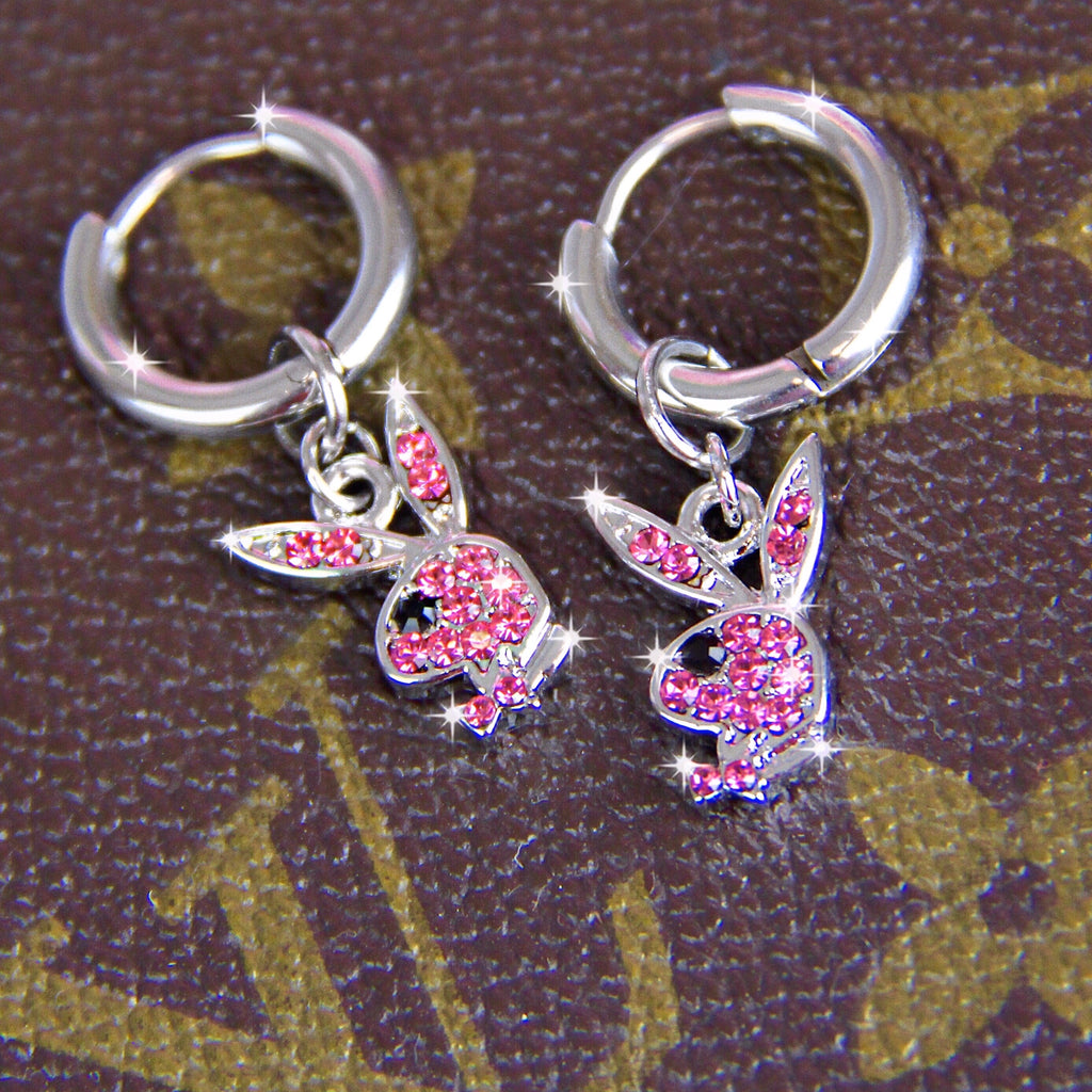 PINK RHINESTONE PLAYBOY EARRINGS