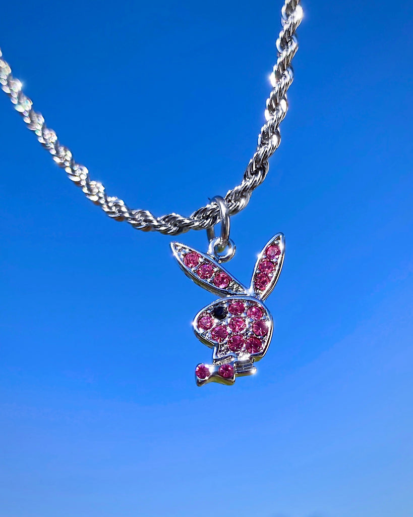 PINK GLITZ PLAYBOY BUNNY NECKLACE