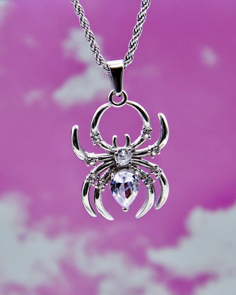 DIAMOND WIDOW SPIDER NECKLACE