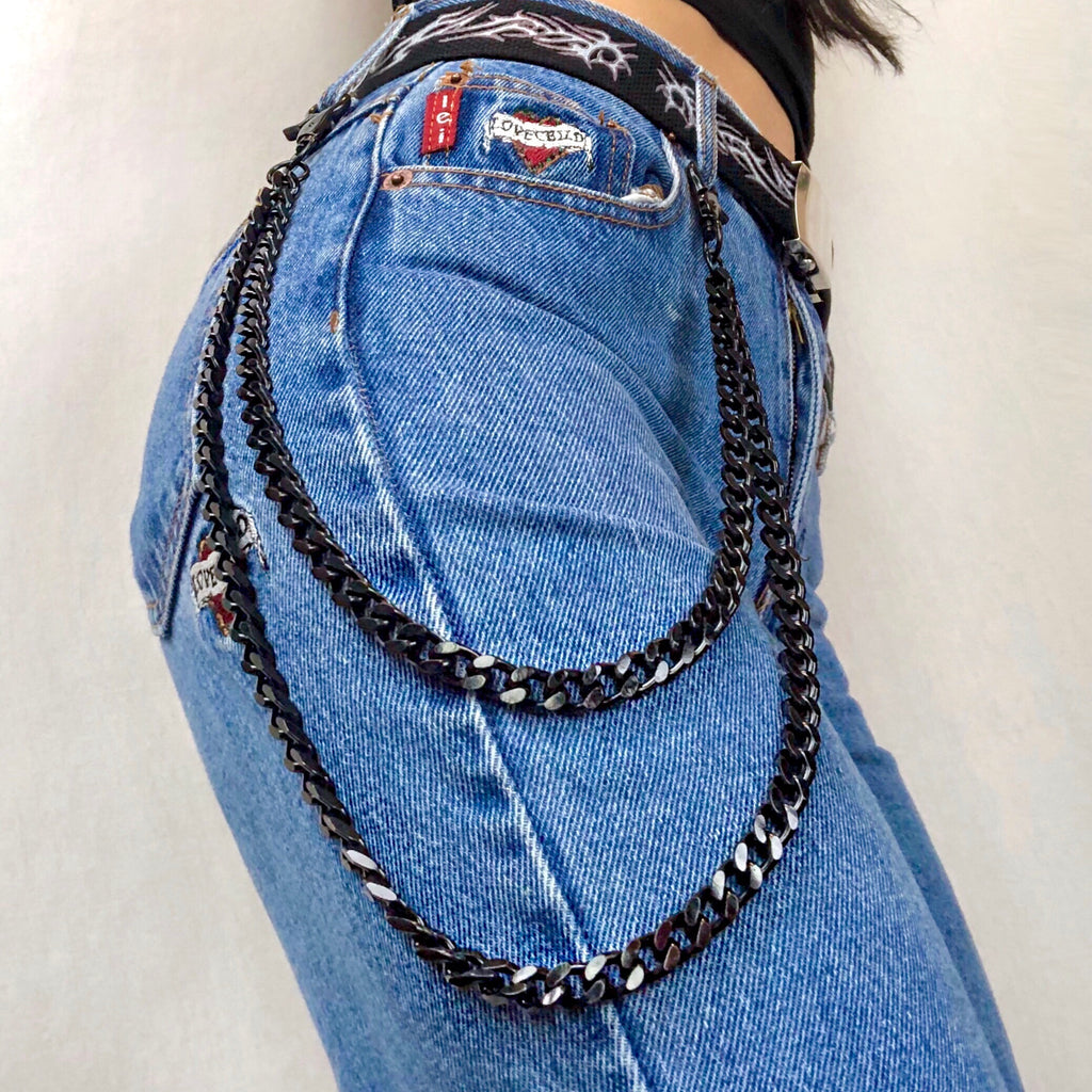 BLACK DOUBLE WALLET CHAIN