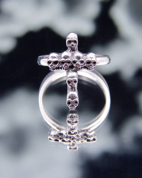 SINNER SKULL CROSS RING