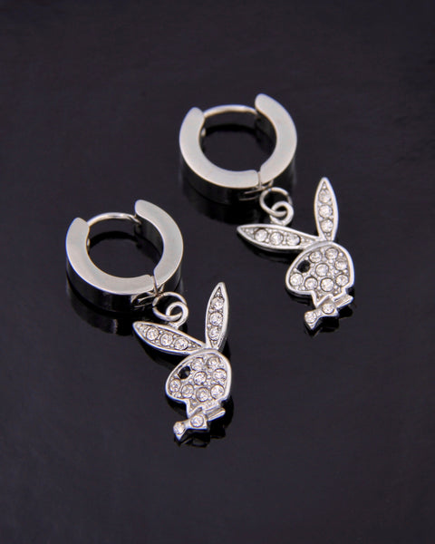 BLINGED OUT PLAYBOY BUNNY EARRINGS