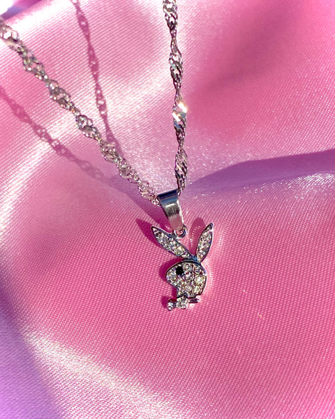 RHINESTONE PLAYBOY BUNNY NECKLACE