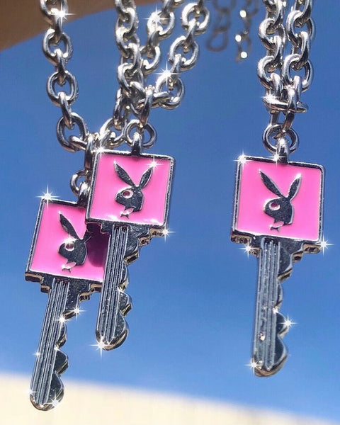 PINK PLAYBOY KEY NECKLACE