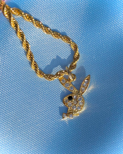 GOLD RHINESTONE PLAYBOY BUNNY NECKLACE