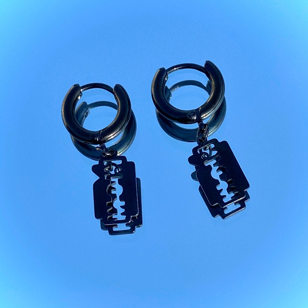 BLACK RAZOR EARRINGS