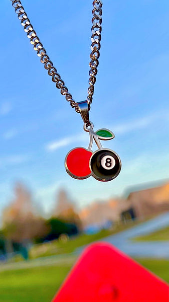 CHERRY 8 BALL NECKLACE
