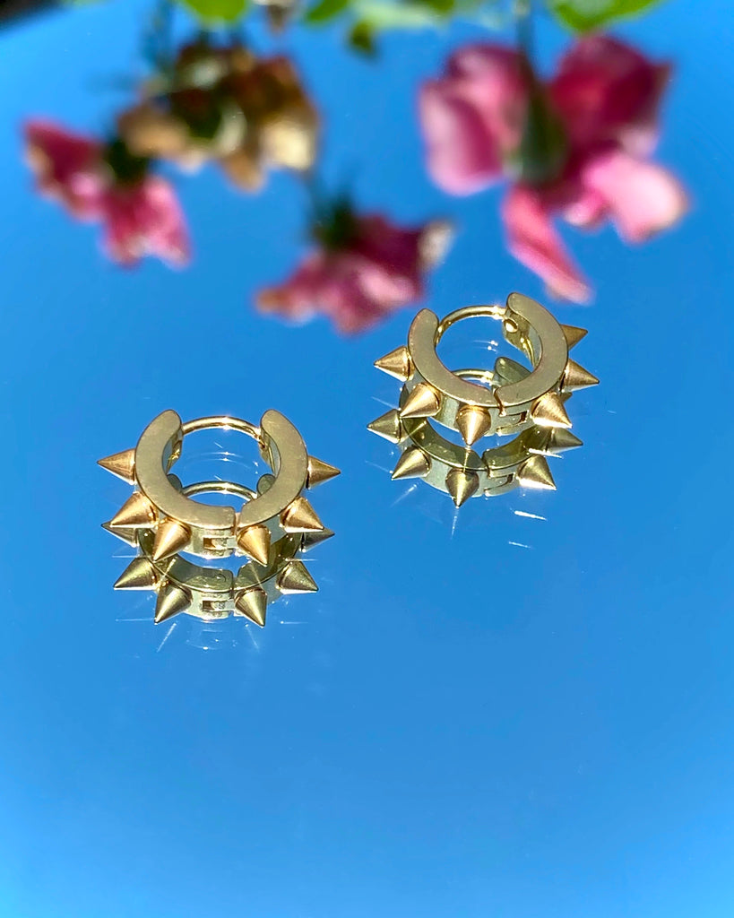 GOLD SPIKED OUT HOOP EARRINGS