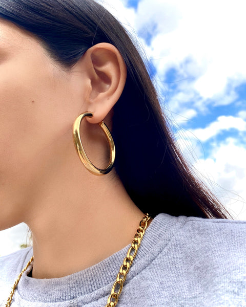 GOLD JUMBO HOOP EARRINGS