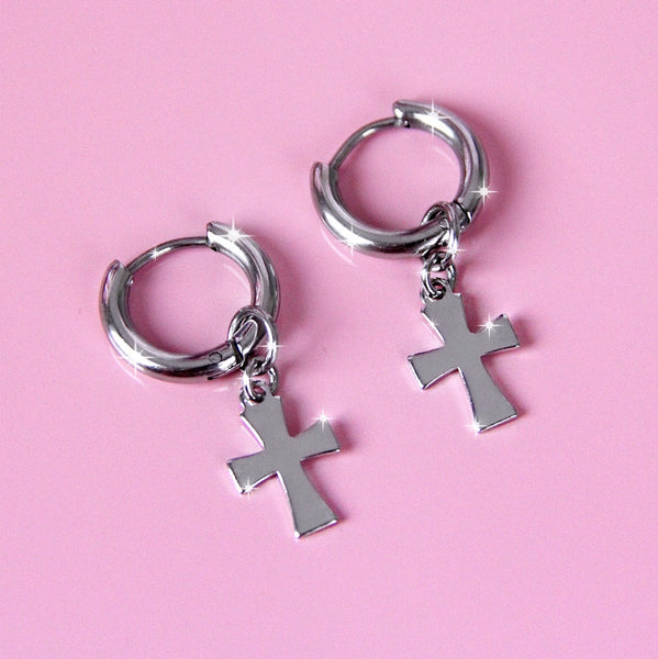 INDEPENDENT CROSS EARRINGS