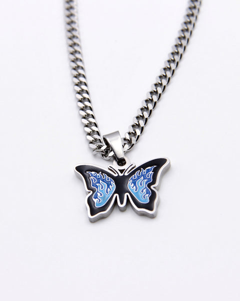 BLUE UP IN FLAMES BUTTERFLY NECKLACE