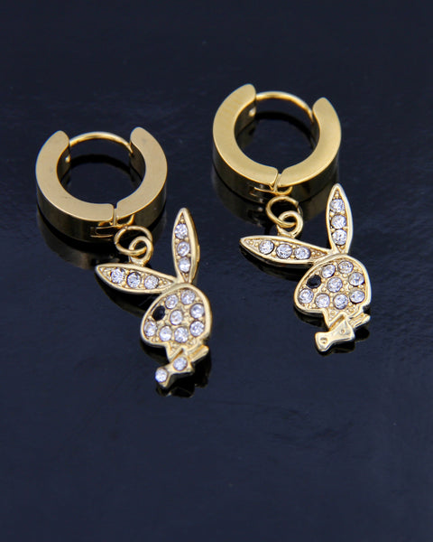 GOLD BLINGED OUT PLAYBOY BUNNY EARRINGS