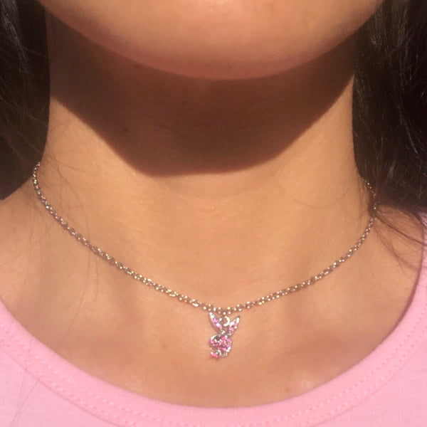 DAINTY RHINESTONE PLAYBOY NECKLACE SET