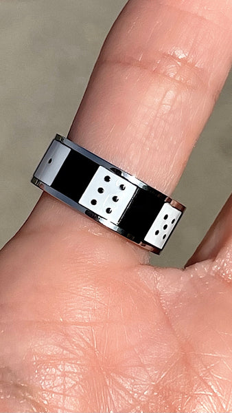 CHECKERED DICE RING