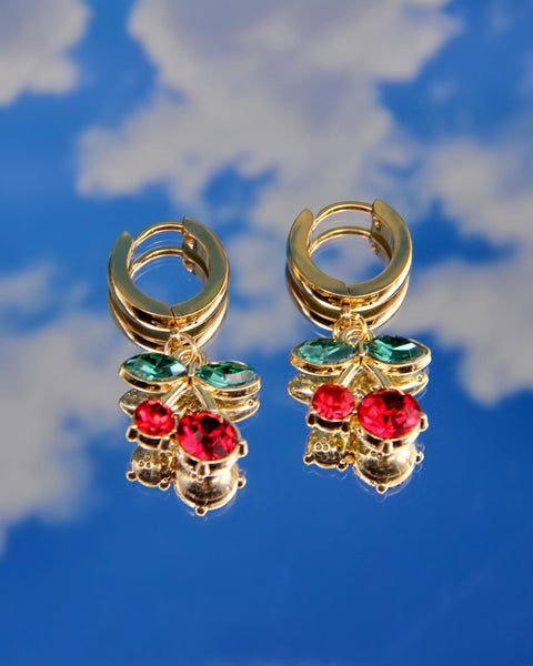 GOLD CHERRY ON TOP EARRINGS