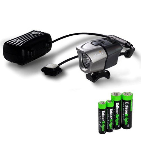 Fenix BTR20 800 lumen rechargeable Dual Distance Beam Cree LED 5 Mode Bike Bicycle Light with battery, charger, Helmet Mount, and EdisonBright AA/AAA alkaline battery sampler pack.