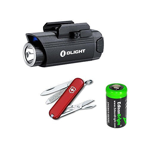 Bundle: Olight PL1 400 Lumen LED pistol light, Victorinox Swiss Army Classic SD Knife/multi-Tool, with EdisonBright CR123A lithium battery bundle
