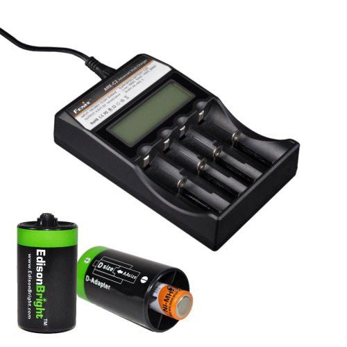 Fenix ARE-C2 four bays Li-ion/ Ni-MH advanced universal smart battery charger with Two Edisonbright AA->D battery spacer shells