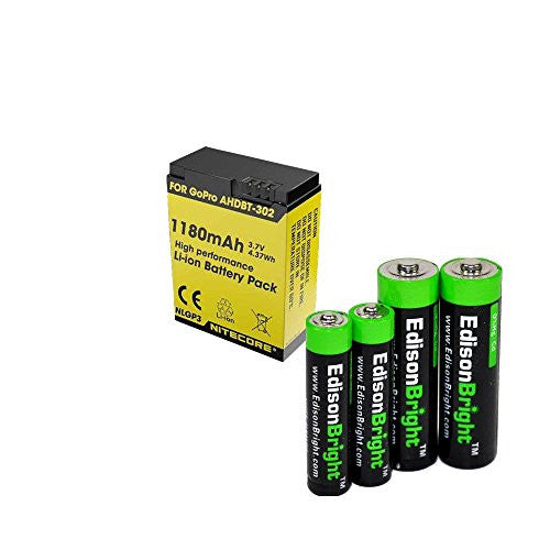 Nitecore NLGP3 1180mAh Li-ion battery for GoPro hero3 & hero3+ battery with EdisonBright AA/AAA alkaline battery sampler pack