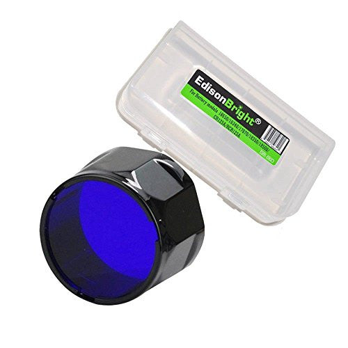 Fenix Filter Adapter, Blue AOF-S-BLUE with EdisonBright BBX3 Battery Case for UC40, PD35, PD12, UC35