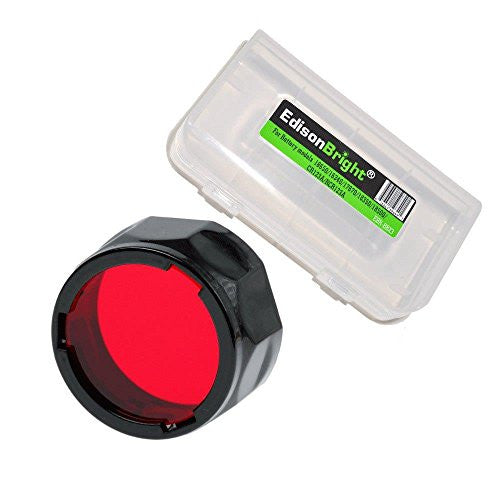 Fenix Filter Adapter, Red AOF-S-RED with EdisonBright Battery Case for PD35, PD12, UC35