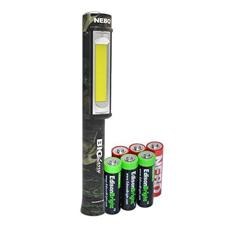 Nebo Big Larry (CAMO) 6382 400 lumen Flashlight COB LED Magnetic Worklight with 3 X EdisonBright AA Alkaline batteries bundle