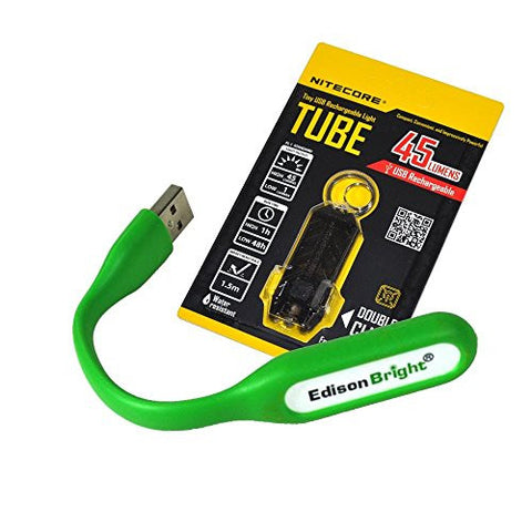 Nitecore TUBE (black) 45 lumen USB rechargeable keychain light and EdisonBright USB powered flexible reading light bundle
