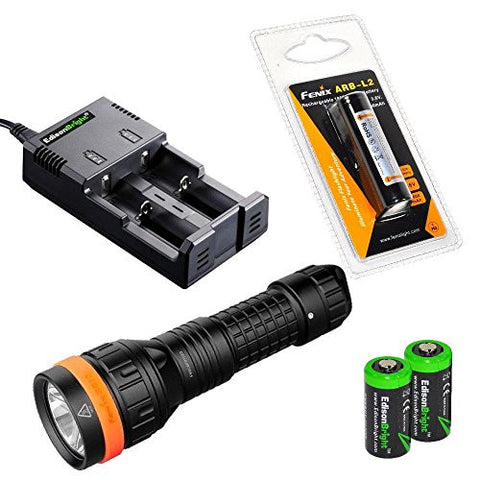 Fenix SD10 930 Lumen CREE XM-L2 T6 waterproof LED Diving light lamp with Genuine Fenix ARB-L2 18650 2600mAh Li-ion rechargeable battery, EdisonBright 2 slot smart battery Charger and 2X EdisonBright CR123A Lithium batteries package