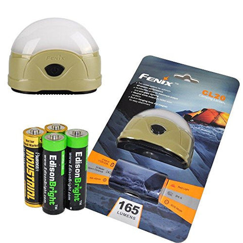 Fenix CL20 165 Lumen dedicated camping light with 2X EdisonBright AA Alkaline batteries