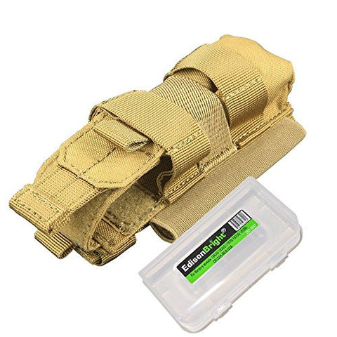 Nitecore NCP30 (Tan color) Molle compatible flashlight/magazine cordura holster with EdisonBright BBX3 battery case