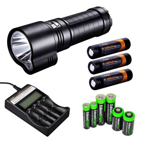 FENIX TK51 1800 Lumen Dual Beam CREE XM-L2 U2 LED Flashlight with 3X Fenix ARB-L2S 18650 3400mAh Li-ion rechargeable batteries, Fenix ARE-C2 advanced four slot battery Charger and EdisonBright battery sampler pack bundle